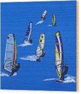 Windsurfers Wood Print