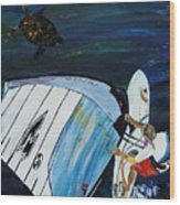 Windsurfing And Sea Turtle Wood Print