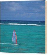 Windsurfing In Clear Ocea Wood Print by Allan Seiden - Printscapes