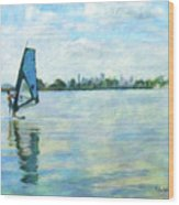 Windsurfing In The Bay Wood Print