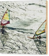 Windsurfing Silver Waters Wood Print