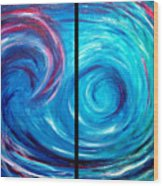 Windswept Blue Wave And Whirlpool 2 Wood Print