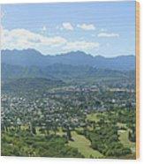 Windward Oahu Panorama I Wood Print