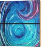 Windwept Blue Wave And Whirlpool Diptych 1 Wood Print