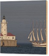 Windy And The Chicago Harbor Light - D009820 Wood Print