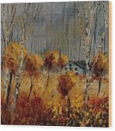 Windy Autumn Landscape  Wood Print