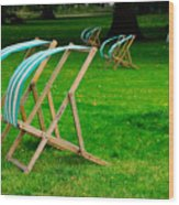 Windy Chairs Wood Print by Harry Spitz