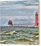 Windy Day At Grand Haven Lighthouse Wood Print