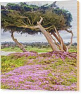 Windy Tree Wood Print