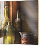 Wine - Three Bottles Wood Print by Mike Savad