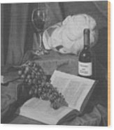 Wine And A Book Wood Print