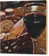 Wine And Bread Wood Print