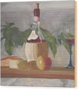 Italian Wine And Cheese Wood Print