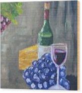 Wine And Cheese Wood Print