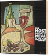 Wine And Cheese Imported Meal Wood Print