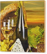 Wine And Cheese Romantic Dinner Outdoor Wood Print