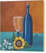 Wine And Flowers Wood Print