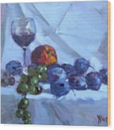 Wine And Fresh Fruits Wood Print