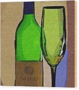 Wine And Glass Wood Print