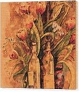 Wine And Tulips Wood Print