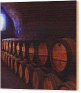 Wine Barrels In Napa Wood Print