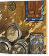 Wine Barrels Wood Print by Karen Fleschler