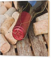 Wine Bottle And Corks Wood Print