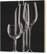Wine Bottle And Wineglasses Silhouette Wood Print by Tom Mc Nemar