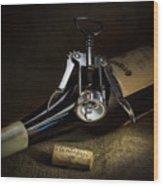 Wine Bottle, Corkscrew And Cork Wood Print