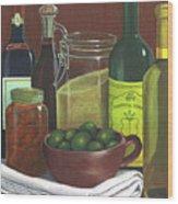 Wine Bottles And Jars Wood Print