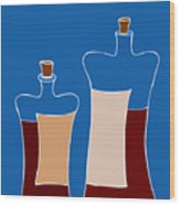 Wine Bottles Wood Print
