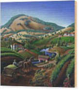 Old Wine Country Landscape - Delivering Grapes To Winery - Vintage Americana Wood Print
