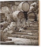 Wine Country Sepia Vignette Wood Print