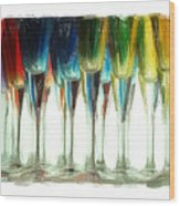 Wine Flutes Wood Print