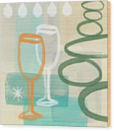 Wine For Two Wood Print by Linda Woods
