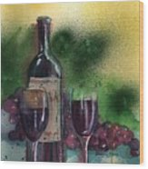 Wine For Two Wood Print by Sharon Mick