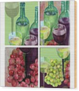 Wine From Grapes Collage Wood Print