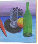 Wine Glass And Fruits Wood Print by M Valeriano