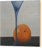 Wine Glass And Orange Wood Print