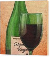 Wine Glass With Bottle Wood Print