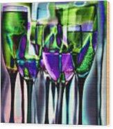 Wine Glasses With Colorful Drinks  Wood Print