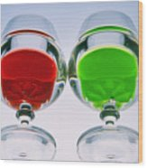 Wine Glasses With Drinks Wood Print