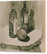 Wine On The Rock Wood Print