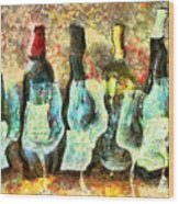 Wine On The Town Wood Print by Marilyn Sholin