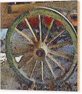 Wine Wagon Wheel Wood Print