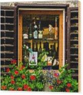 Wine Window Wood Print