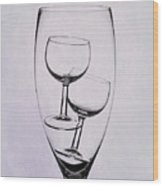 Wineglass Trio Wood Print