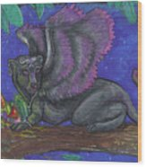 Winged Panther Kitten Cub Wood Print