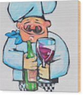 Wining Chef Wood Print