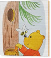 Winnie The Pooh And His Lunch Wood Print